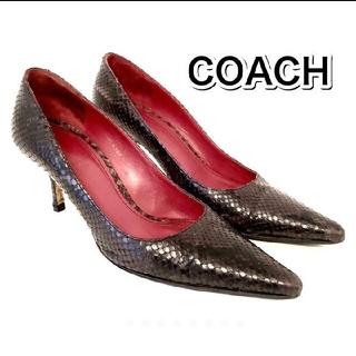 コーチ(COACH)のCOACH コーチ パンプス 24㎝ 8B パイソン スネーク ヘビ柄 黒 赤(ハイヒール/パンプス)
