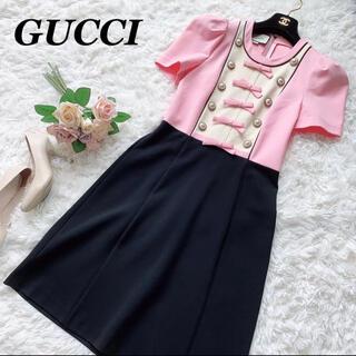 Gucci - 美品♡グッチ ピンク リボンワンピース イタリー製 L 大きいサイズ
