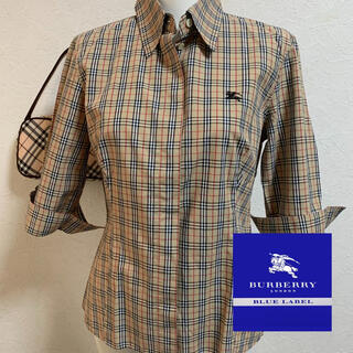 バーバリーブルーレーベル(BURBERRY BLUE LABEL)のBurberry☆七分袖チェックシャツ40(シャツ/ブラウス(長袖/七分))