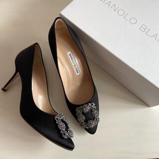 MANOLO BLAHNIK - マノロブラニク ハンギシ黒 7㎝ヒール サイズ38