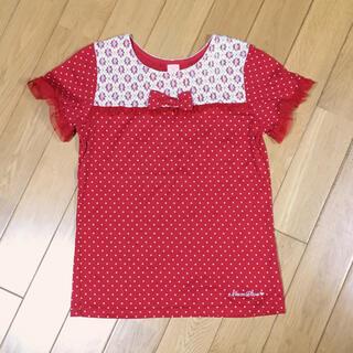 mezzo piano - 【150】メゾピアノ 半袖Tシャツ 赤×白ドット