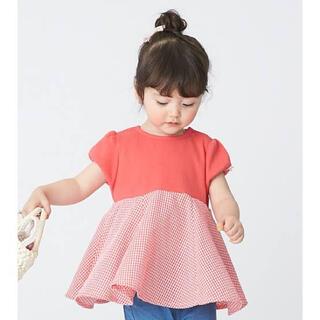 petit main - petit main 総柄ドッキングペプラムTシャツ 赤 90  美品