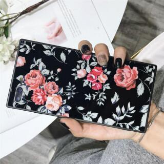 黒 iphoneX ローズ柄 花柄 iphoneケース スクエア 防塵 保護