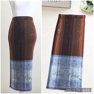 【美品】PLEATS PLEASE プリーツ プリーズ ロゴ ロング スカート