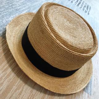 田中帽子店 カンカン帽子 ラフィア ナチュラル ♪♪♪(麦わら帽子/ストローハット)