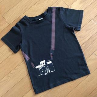 ブラック カメラ柄 おしゃれTシャツ 120