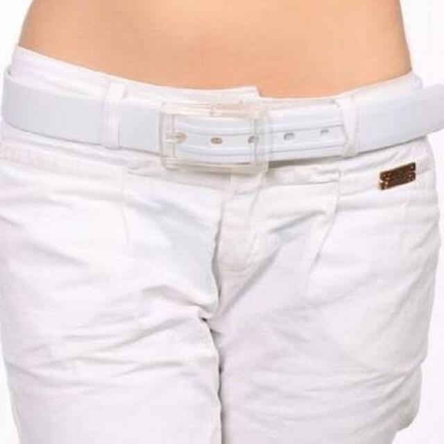 【ホワイト:110cm】スポーツ等に シリコンラバー ベルト レディースのファッション小物(ベルト)の商品写真