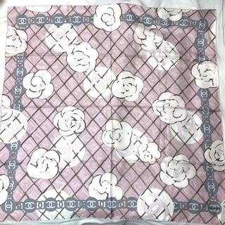 シャネル(CHANEL)のCHANEL シャネル カメリアマークスカーフ ココマーク ピンク ホワイト(バンダナ/スカーフ)