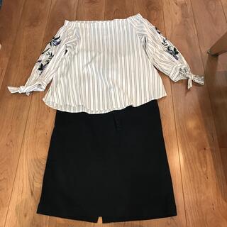 ココディール(COCO DEAL)のオフショルシャツ タイトスカート 上下セット(セット/コーデ)