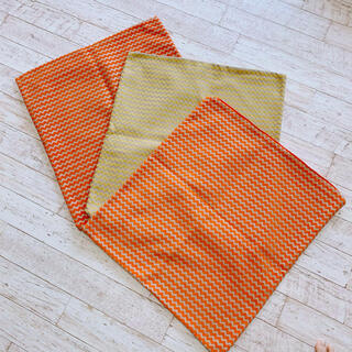 ACTUS - 美品   座布団カバー  3枚セット  オレンジ  イエロー  ニトリ