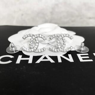 CHANEL - 正規品 シャネル ピアス スリム シルバー ココマーク ラインストーン 銀 ロゴ