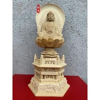 仏像 彫刻 阿弥陀仏 専属光背 六角台座 高級天然木彫 職人手作 開運 28cm(彫刻/オブジェ)