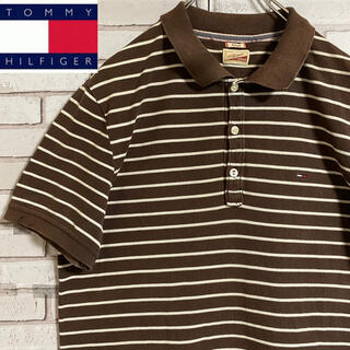 TOMMY HILFIGER - 90s 古着 ヒルフィガーデニム ポロシャツ 刺繍ロゴ ボーダー ワンポイント