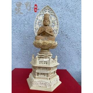 仏像 彫刻 大日如来 専属光背 六角台座 高級天然木彫 職人手作 風水 28cm(彫刻/オブジェ)