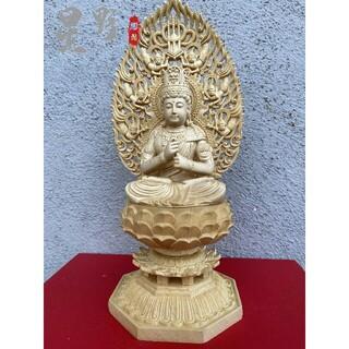 仏像 木彫 大日如来 飛天仕女光背 八角台座 職人手作 開運厄除け 29cm(彫刻/オブジェ)