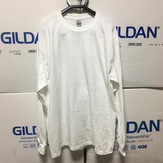 ギルタン(GILDAN)のGILDANギルダン☆ロンT☆長袖無地Tシャツ☆ポケット無し☆ホワイトL白(Tシャツ/カットソー(七分/長袖))