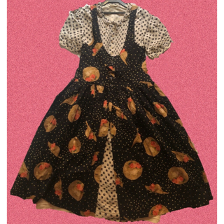 PINK HOUSE - kaneko isao 水玉 花柄 ワンピース 二重裾