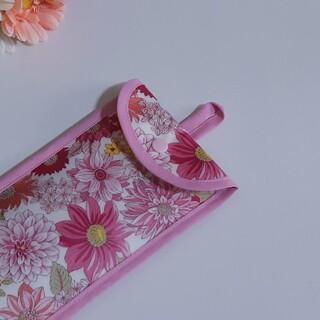 ループ付き27桁用そろばんケース♪エレガントフラワー・ピンク 花柄 バチ入れ(バッグ/レッスンバッグ)
