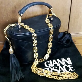 Gianni Versace - 【USED品】ジャンニ ヴェルサーチ バニティバッグ レザー 黒  袋付