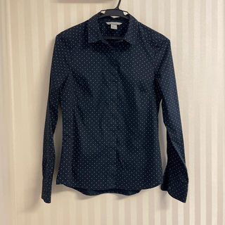 H&M - H&M ネイビー ドット柄 長袖 ストレッチシャツ