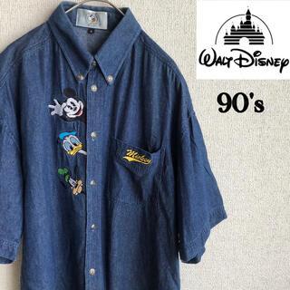 Disney - 90s Disney Mickey 刺繍 半袖 デニム シャツ ディズニー M
