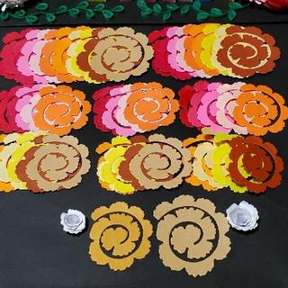 赤系クイリング花 花デコパーツ 原紙 10色 大中 50枚 ペーパーフラワー