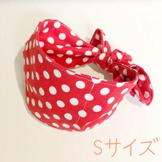 【ハンドメイド】 犬用 クールネック 赤ドット ミッキーミニーっぽ Sサイズ