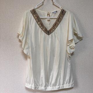 クレドソル(CLEF DE SOL)のエスニック ビーズ 白 トップス(カットソー(半袖/袖なし))