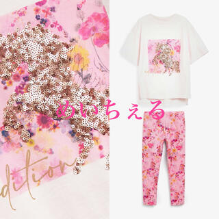 ネクスト(NEXT)の【新品】next ピンク ユニコーン柄Tシャツ&レギンスセット(オールド)(Tシャツ/カットソー)