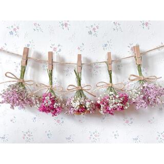 3種のバラとかすみ草のパステルピンクドライフラワーガーランド♡スワッグ♡ブーケ