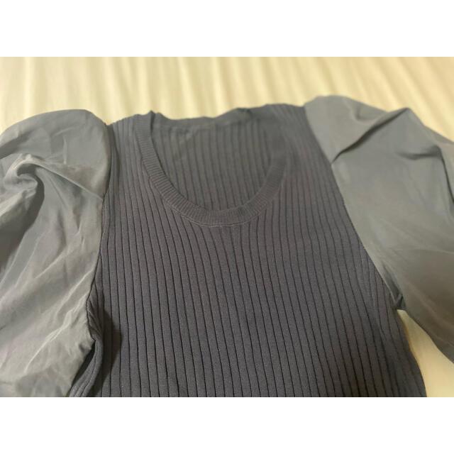 GRL(グレイル)の【新品未使用】パフスリーブリブニットトップス レディースのトップス(カットソー(半袖/袖なし))の商品写真