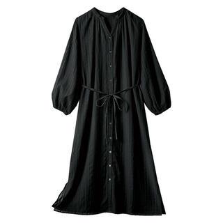 綿ドビーシャツカーデ黒 シャツワンピロングカーデブラック
