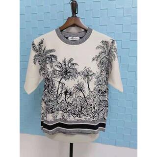 ディオール(Dior)のDIOR CHEZ MOI 半袖セーター ニット ホワイト(ニット/セーター)