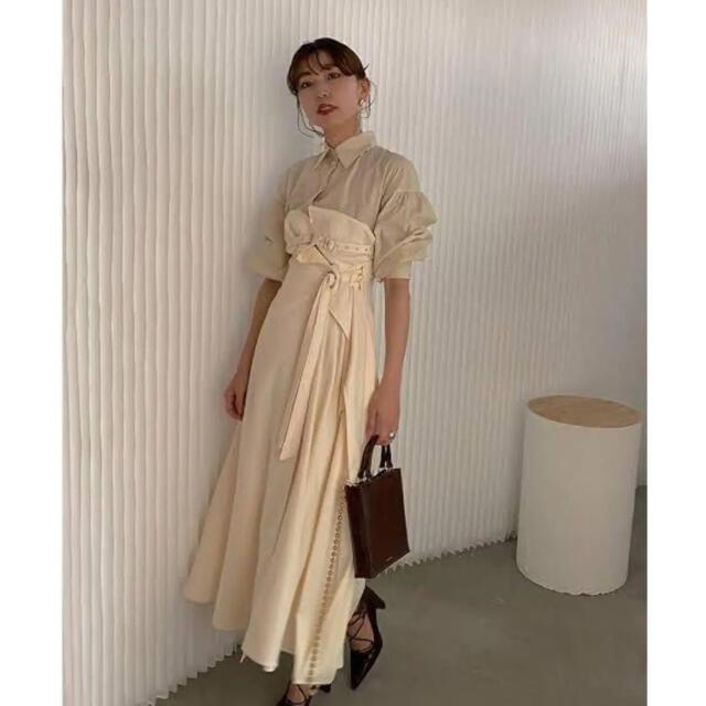 Ameri VINTAGE(アメリヴィンテージ)のAmeri vintage MILLEFEUILLE SHIRT DRESS レディースのワンピース(ロングワンピース/マキシワンピース)の商品写真