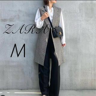 ZARA - ZARA  ベルト付きチェックロングベスト  M