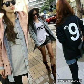 No9COCOロゴプリントロンT♡レディースオーバーサイズブラックホワイトグレー