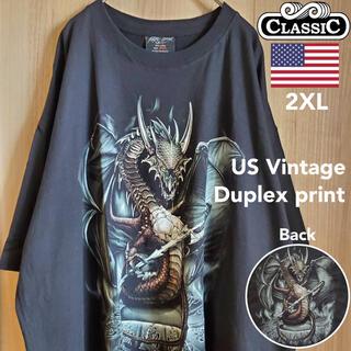 US古着 Tシャツ ドラゴン 竜 龍 ゲーム バックプリント ブラック 黒 2X
