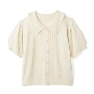 GRL - 【本日限定価格】襟付きパフスリーブ透かし編みカーディガン アイボリー 完売品
