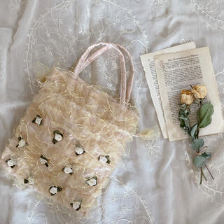 Lochie - vintageレトロピンク薔薇オーガンジーフリル大きめ巾着ポーチ