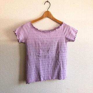 ジーユー(GU)のGU♡リブワイドネックT♡ラベンダーM♡美品♡シンプルコーデ ♡ジーユー♡(Tシャツ(半袖/袖なし))