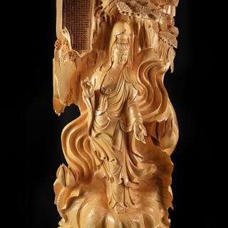超極上  特大観音菩薩立像  般若心経細密彫刻  美品(彫刻/オブジェ)