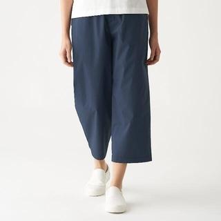 MUJI (無印良品) - ストレッチ高密度織りワイドクロップドパンツ  婦人M ネイビー