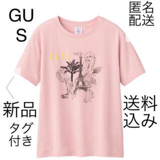 ジーユー(GU)の(67) 新品 GU S グラフィックT ELLE ピンク 綿100%(Tシャツ(半袖/袖なし))