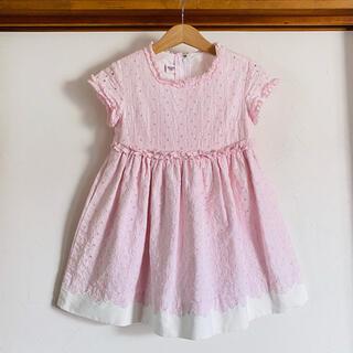 familiar - ファミリア ワンピース 100 110 ピンク フリル 刺繍 ドレス フォーマル