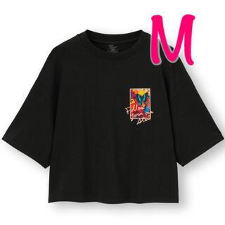 ジーユー(GU)のGU 蜷川実花 コラボ クロップドグラフィックT (5分袖)  M black(Tシャツ(半袖/袖なし))