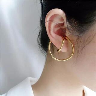 大きな変形ゴールドイヤーカフ両耳セット イヤカフ イヤリング EAR009(イヤーカフ)