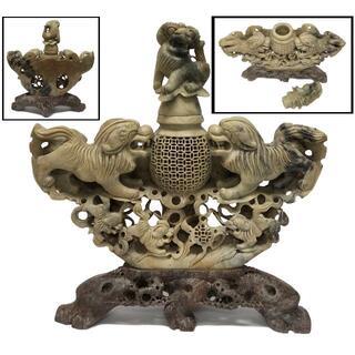 天然 寿山石 手彫り獅子家族香炉 極上細密彫刻 置物 旧蔵 福建省WWFT063(彫刻/オブジェ)