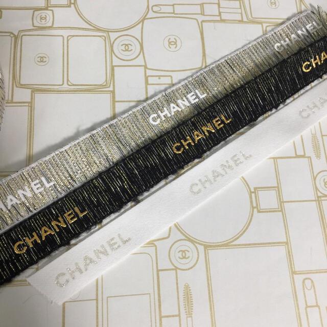 CHANEL(シャネル)の計3mです❤︎CHANEL リボン 2020 ホリデー インテリア/住まい/日用品のオフィス用品(ラッピング/包装)の商品写真