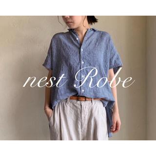 nest Robe - * nest Robe * 2019 リネンチェックオープンカラーシャツ