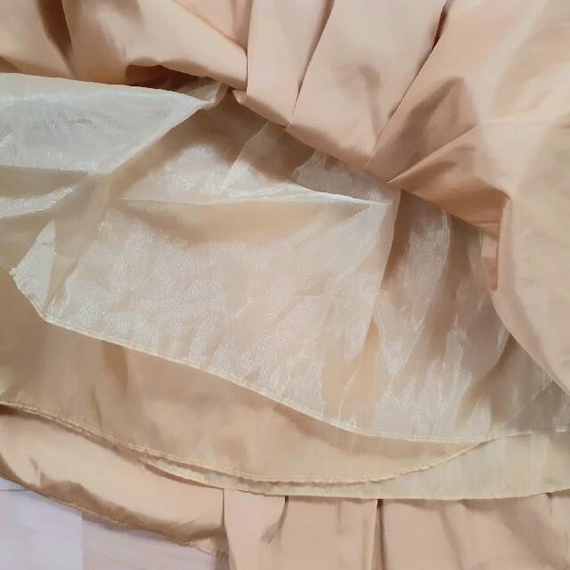 美品 神戸スカート  トレコード フレアスカートチュール付きマスタード系カラー レディースのスカート(ひざ丈スカート)の商品写真